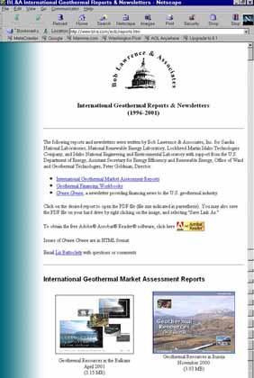 BL&A International Geothermal Reports & Newsletters Web Page